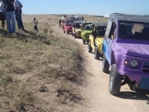 caravana hacia la arena